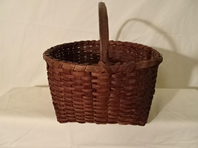 "#137 Antique Handmade Tiny Web Basket - 10 3/4"" w x 6"" h, plus 3 3/4"" handle - $ ? ()"