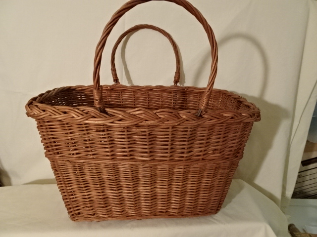 """#139 Antique Handmade Basket - stripe decoration - 15 1/2"""" w x 9 1/2"""" w x 9 1/4 h, plus double handles - $ ? ()"""