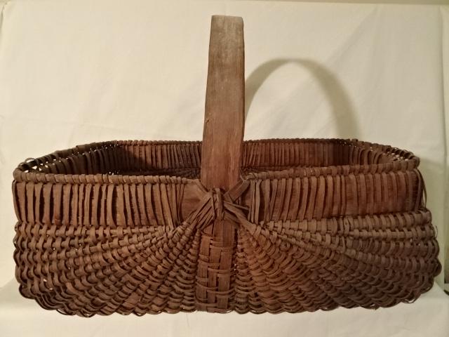 "#141 Antique Handmade Harvest Basket - 18 1/2"" x 13"" w x 7 1/2"" h, plus 7"" handle  - $60 ()"
