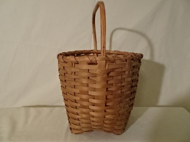 "#142 Antique Handmade Basket - 8"" round x 7 1/4"" h, plus 4 1/2"" handle  - $67.50 (EKA)"