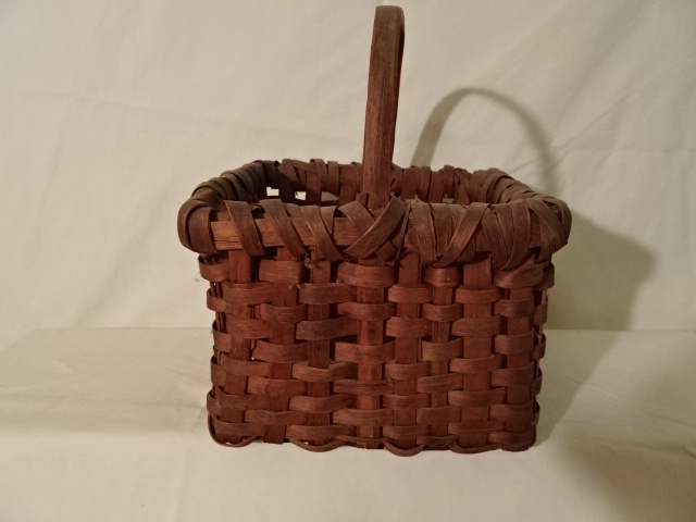 "#145 Antique Handmade Basket - 8"" square x 6"" h plus 3 1/2"" handle"
