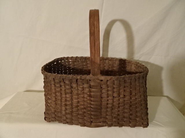 "#148 Beautiful Antique Handmade Basket - 12"" oval  x 6 1/2 x 7"" h plus 5 3/4"" handle"