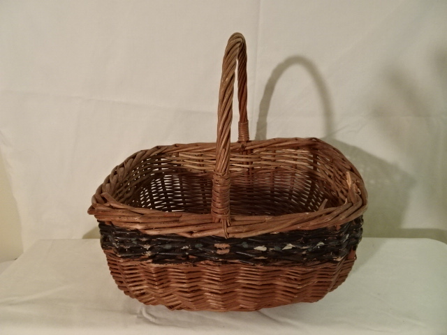"""#155 Antique Handmade Basket - painted stripe - 11"""" x 9"""" x 6"""" with 5 1/2"""" handle"""
