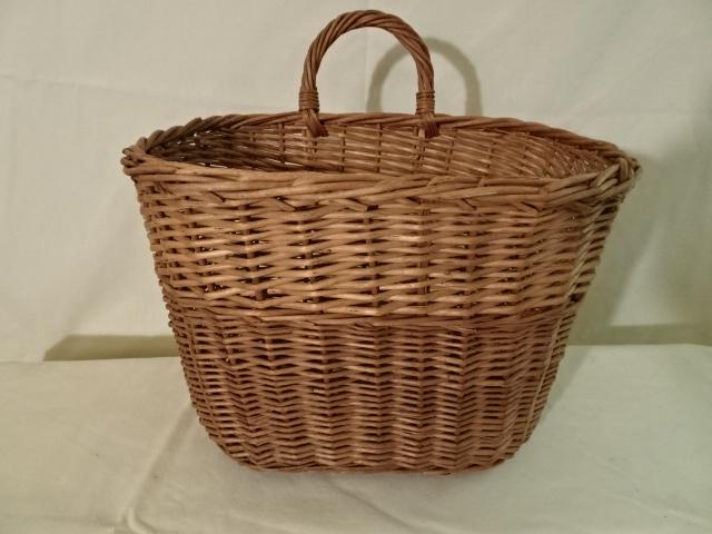 "#156 One handle Antique Handmade Basket - decorator stripe - 9 1/2"" x 6"" x 7""h plus 2 21/2"" single handle"