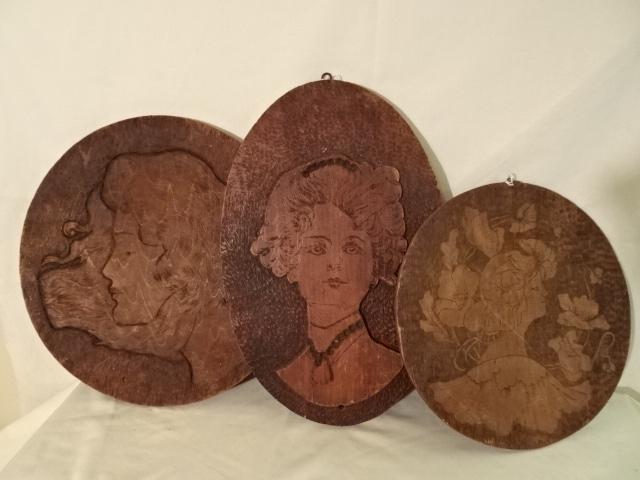 """Antique Burnt Wood Plaques - Ladies faces- 10"""" 12"""" 13"""""""